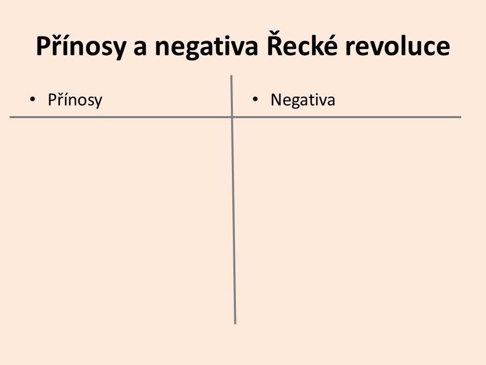 Přínosy a negativa Řecké revoluce Přínosy Negativa