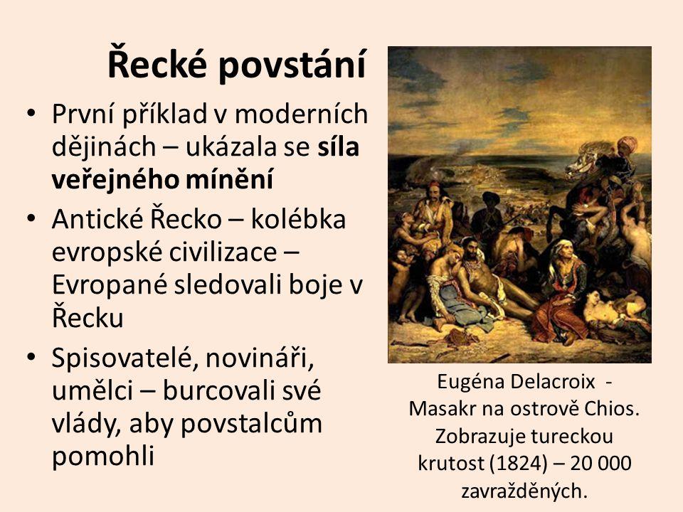 Řecké povstání Příznivci řecké svobody: Finanční pomoc Tisíce dobrovolníků – např.