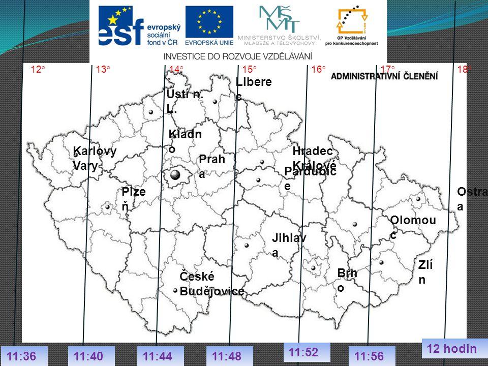 Ústí n. L. Libere c Karlovy Vary Prah a Kladn o Brn o Olomou c Zlí n Ostrav a 13 ° 15 ° 14 ° 17 ° 16 ° 18 ° 11:36 12 hodin 11:48 11:52 11:5611:4011:44