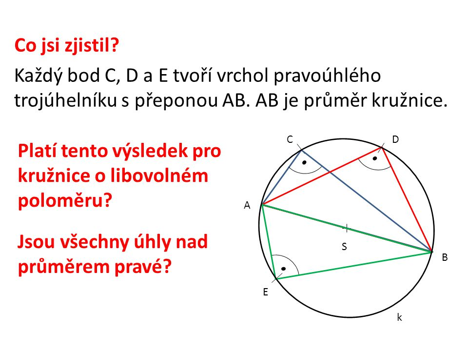 S k C C´ A B Thaletova kružnice Narýsuj: S 4) 5) Čtyřúhelník AC´BC Jak nazýváme úsečky AB, CC´.
