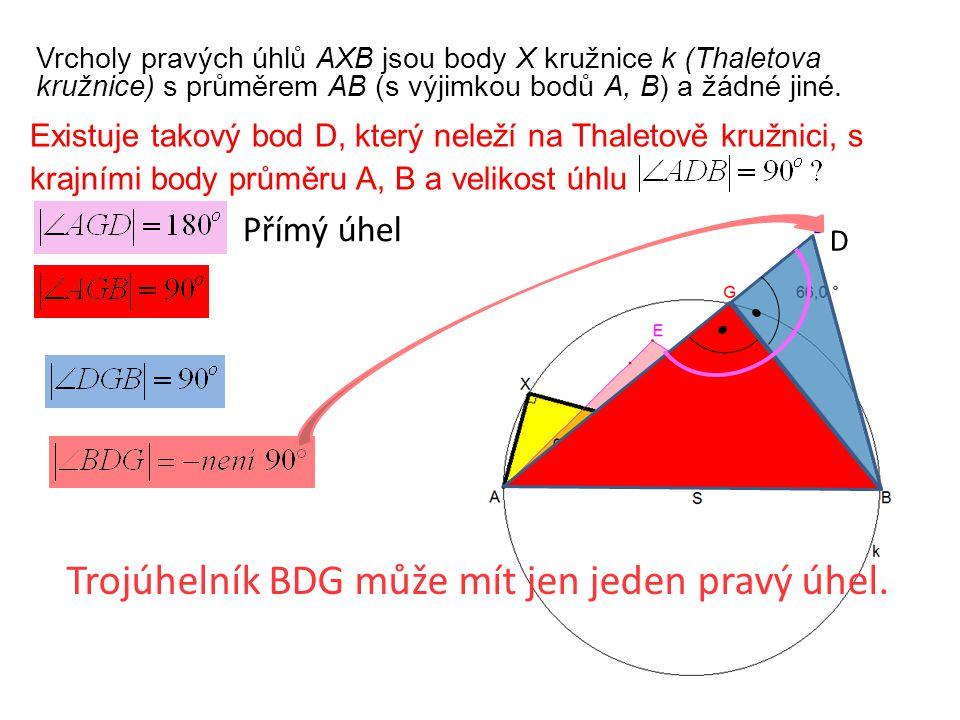 Vrcholy pravých úhlů AXB jsou body X kružnice k (Thaletova kružnice) s průměrem AB (s výjimkou bodů A, B) a žádné jiné.