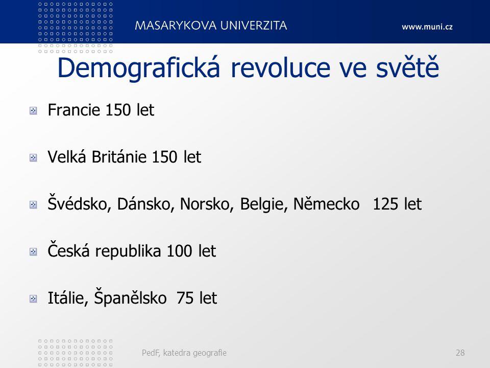 PedF, katedra geografie28 Demografická revoluce ve světě Francie 150 let Velká Británie 150 let Švédsko, Dánsko, Norsko, Belgie, Německo125 let Česká republika 100 let Itálie, Španělsko75 let