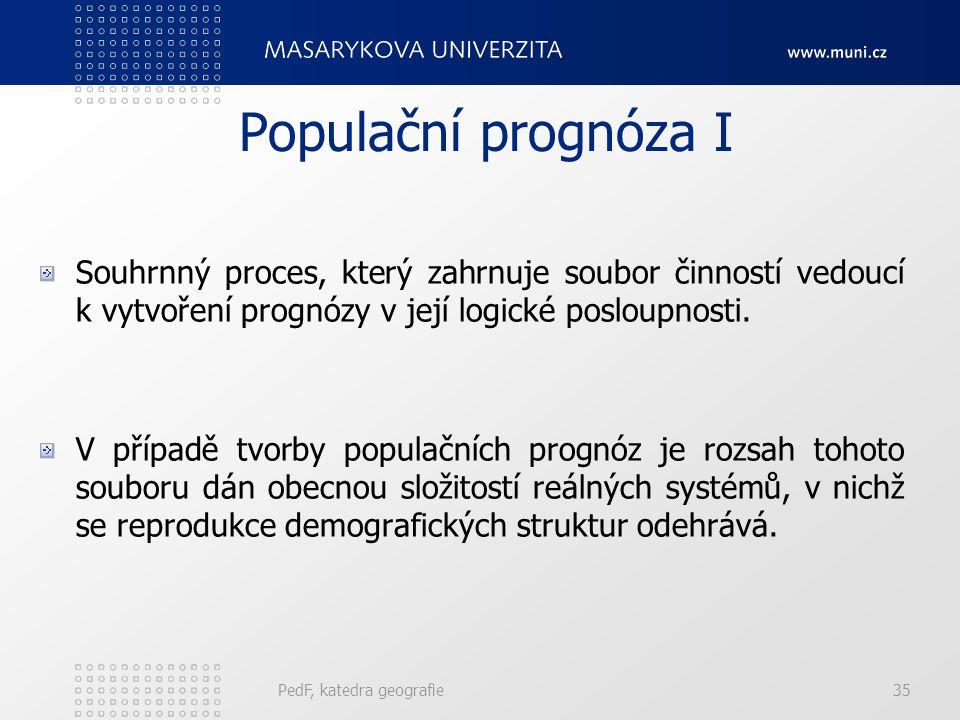 PedF, katedra geografie35 Populační prognóza I Souhrnný proces, který zahrnuje soubor činností vedoucí k vytvoření prognózy v její logické posloupnosti.