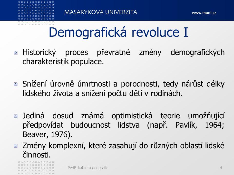 PedF, katedra geografie4 Demografická revoluce I Historický proces převratné změny demografických charakteristik populace.