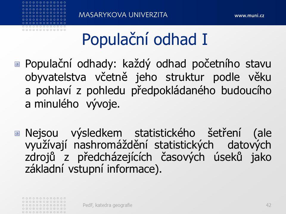 PedF, katedra geografie42 Populační odhad I Populační odhady: každý odhad početního stavu obyvatelstva včetně jeho struktur podle věku a pohlaví z pohledu předpokládaného budoucího a minulého vývoje.