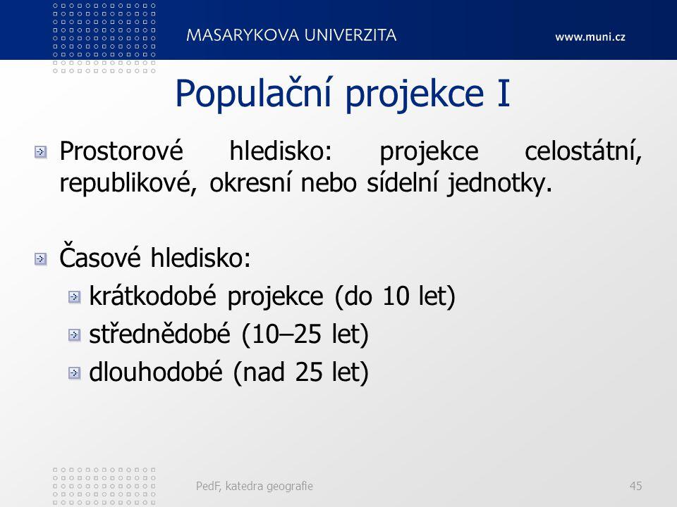 PedF, katedra geografie45 Populační projekce I Prostorové hledisko: projekce celostátní, republikové, okresní nebo sídelní jednotky.