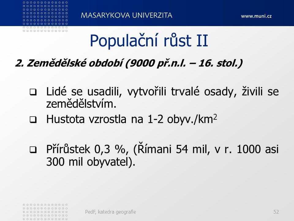 PedF, katedra geografie52 Populační růst II 2.Zemědělské období (9000 př.n.l.