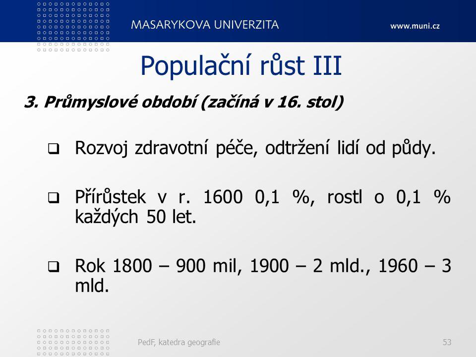 PedF, katedra geografie53 Populační růst III 3.Průmyslové období (začíná v 16.