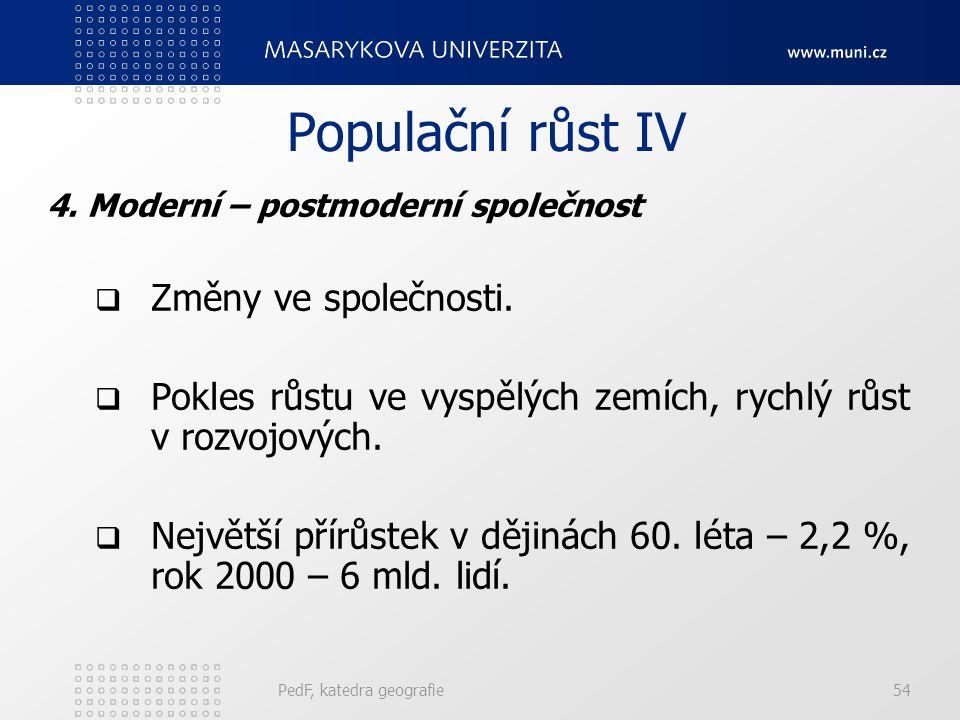 PedF, katedra geografie54 Populační růst IV 4.