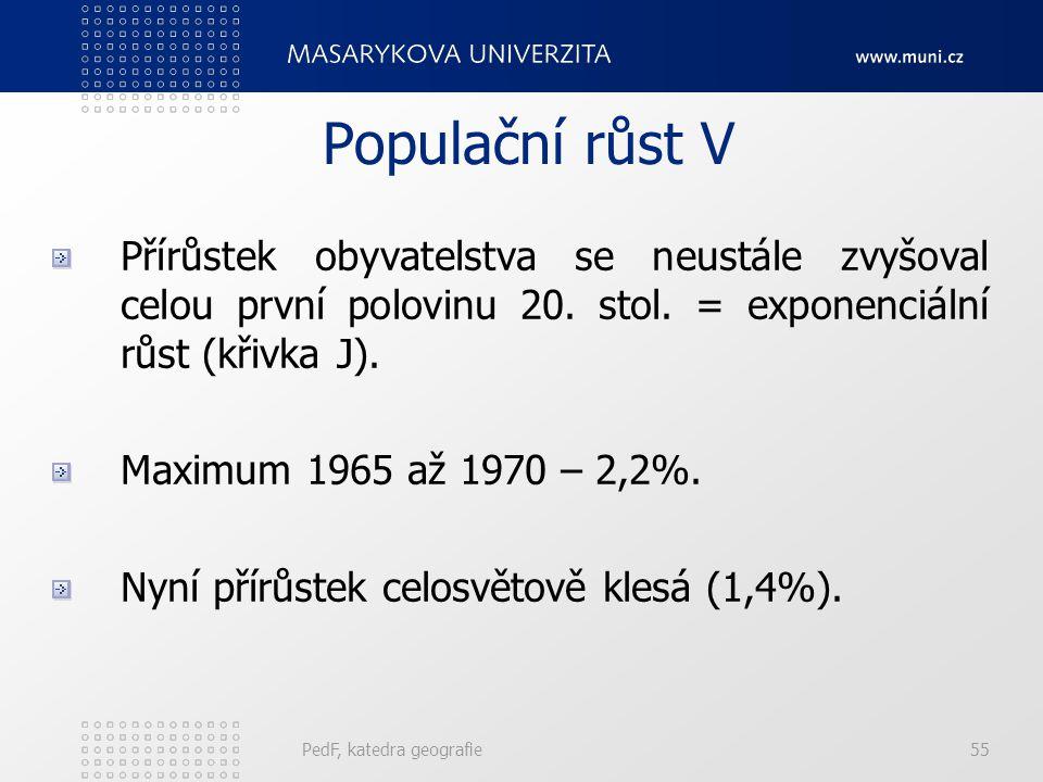 PedF, katedra geografie55 Populační růst V Přírůstek obyvatelstva se neustále zvyšoval celou první polovinu 20.