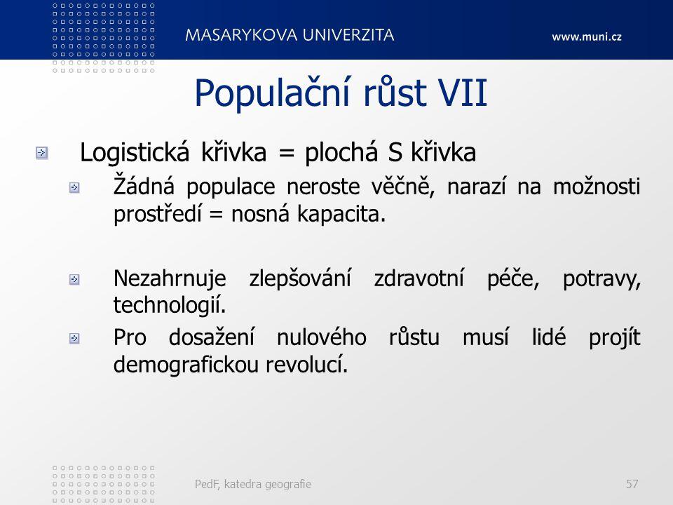 PedF, katedra geografie57 Populační růst VII Logistická křivka = plochá S křivka Žádná populace neroste věčně, narazí na možnosti prostředí = nosná kapacita.