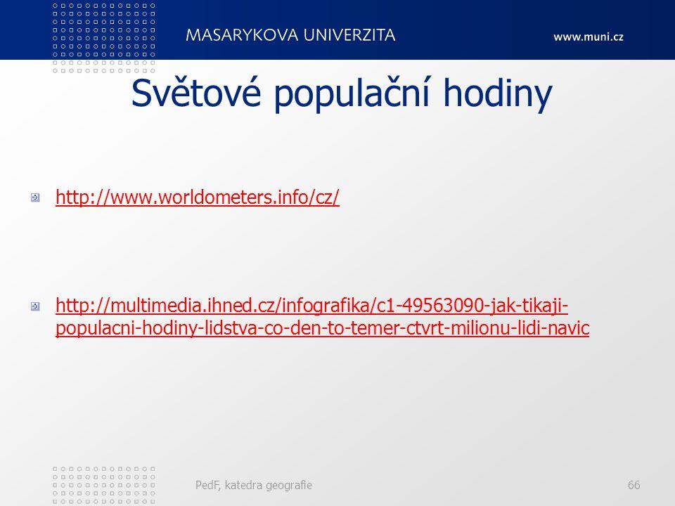 PedF, katedra geografie66 Světové populační hodiny http://www.worldometers.info/cz/ http://multimedia.ihned.cz/infografika/c1-49563090-jak-tikaji- populacni-hodiny-lidstva-co-den-to-temer-ctvrt-milionu-lidi-navic