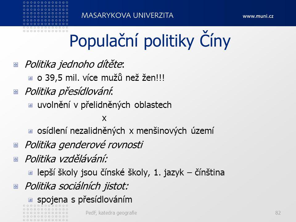 PedF, katedra geografie82 Populační politiky Číny Politika jednoho dítěte: o 39,5 mil.