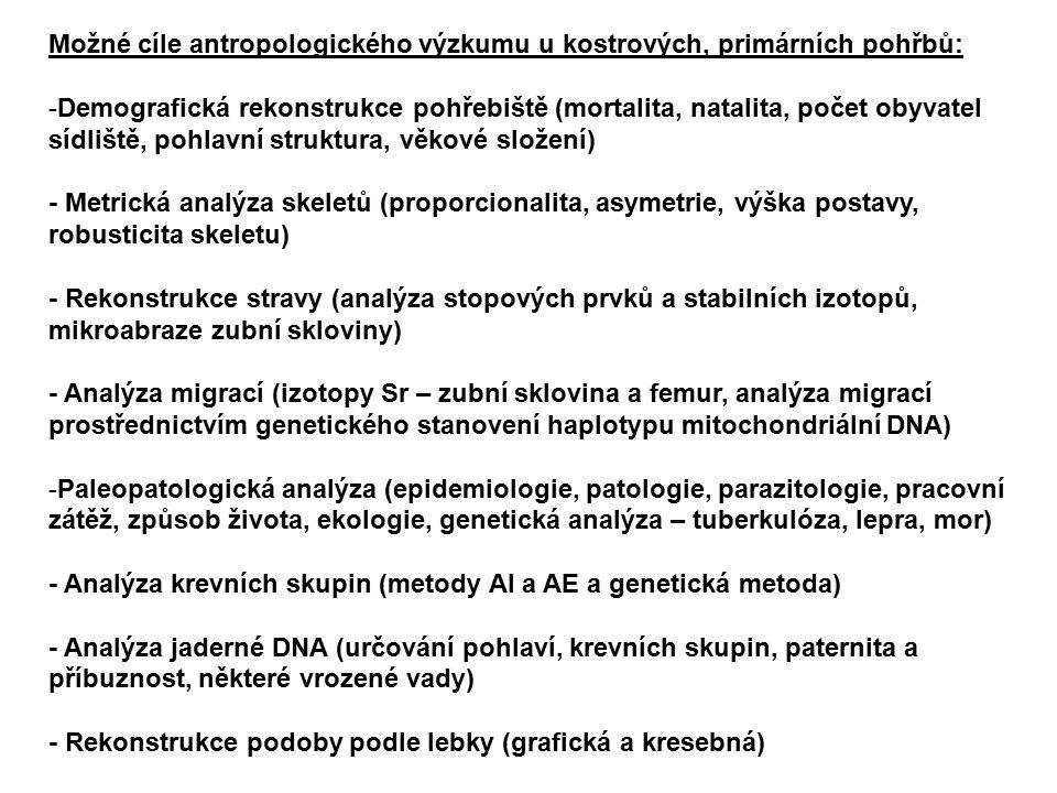 Možné cíle antropologického výzkumu u kostrových, primárních pohřbů: -Demografická rekonstrukce pohřebiště (mortalita, natalita, počet obyvatel sídliště, pohlavní struktura, věkové složení) - Metrická analýza skeletů (proporcionalita, asymetrie, výška postavy, robusticita skeletu) - Rekonstrukce stravy (analýza stopových prvků a stabilních izotopů, mikroabraze zubní skloviny) - Analýza migrací (izotopy Sr – zubní sklovina a femur, analýza migrací prostřednictvím genetického stanovení haplotypu mitochondriální DNA) -Paleopatologická analýza (epidemiologie, patologie, parazitologie, pracovní zátěž, způsob života, ekologie, genetická analýza – tuberkulóza, lepra, mor) - Analýza krevních skupin (metody AI a AE a genetická metoda) - Analýza jaderné DNA (určování pohlaví, krevních skupin, paternita a příbuznost, některé vrozené vady) - Rekonstrukce podoby podle lebky (grafická a kresebná)