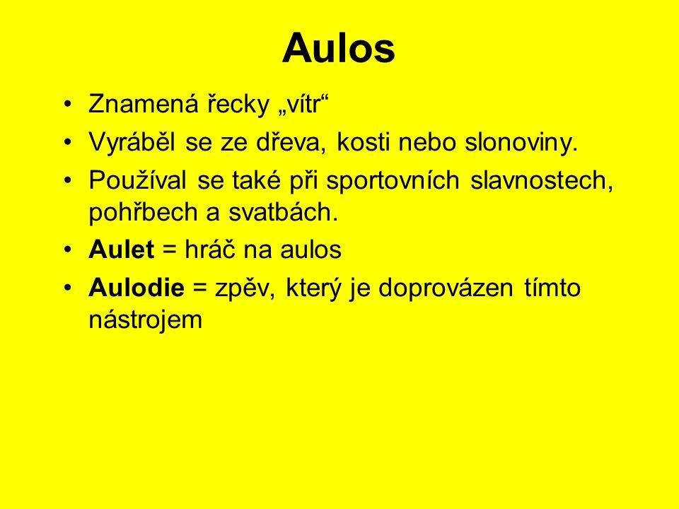 """Aulos Znamená řecky """"vítr Vyráběl se ze dřeva, kosti nebo slonoviny."""
