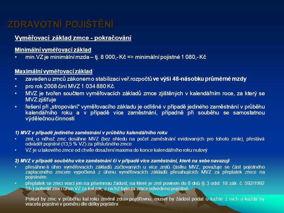 ZDRAVOTNÍ POJIŠTĚNÍ Vyměřovací základ OSVČ Minimální VZ -min.
