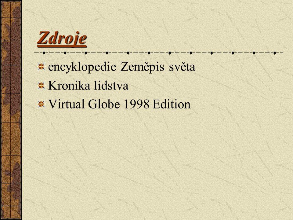 Zdroje encyklopedie Zeměpis světa Kronika lidstva Virtual Globe 1998 Edition