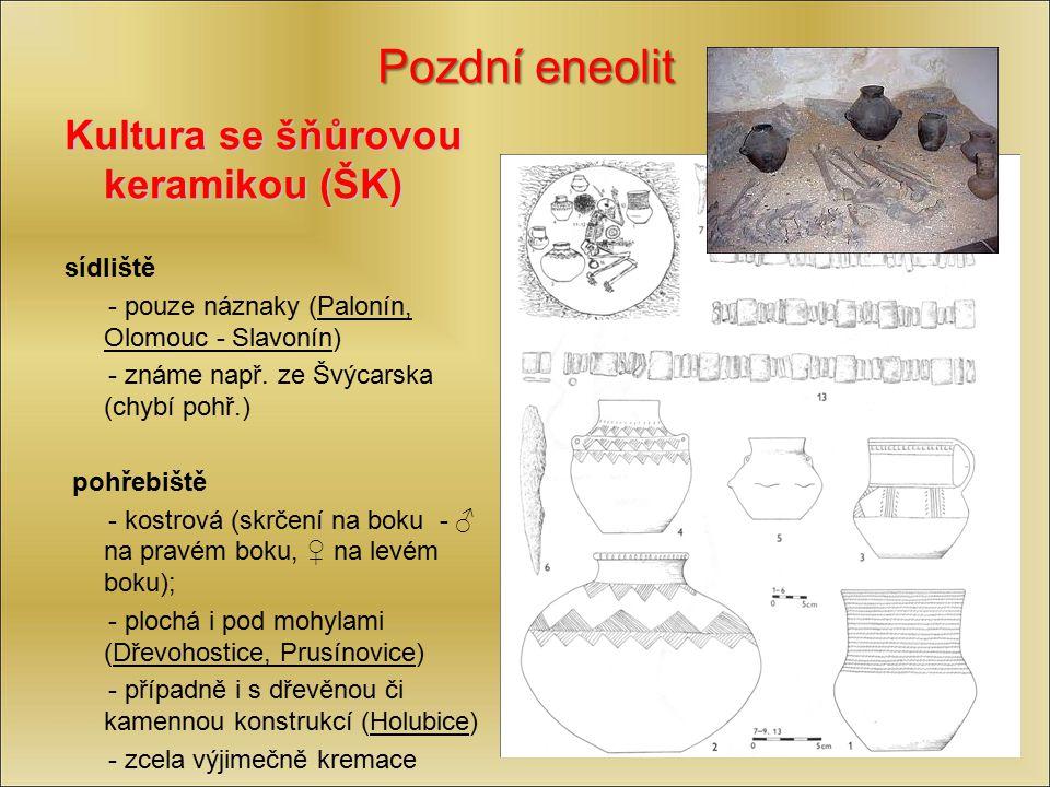 Pozdní eneolit Kultura se šňůrovou keramikou (ŠK) sídliště - pouze náznaky (Palonín, Olomouc - Slavonín) - známe např. ze Švýcarska (chybí pohř.) pohř