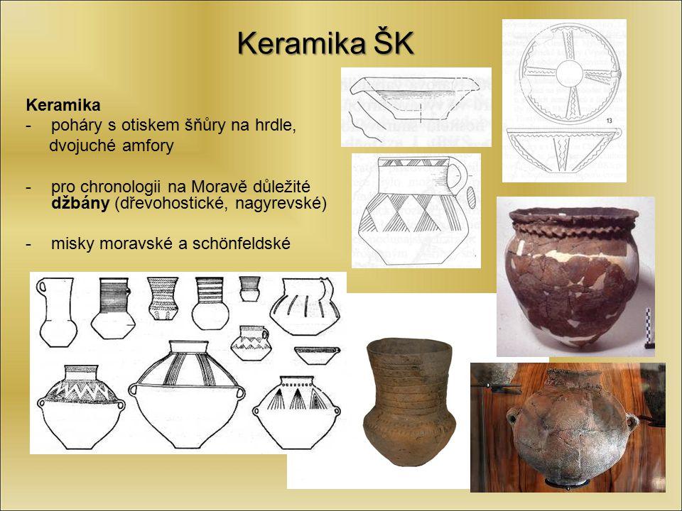 Keramika ŠK Keramika -poháry s otiskem šňůry na hrdle, dvojuché amfory -pro chronologii na Moravě důležité džbány (dřevohostické, nagyrevské) -misky m