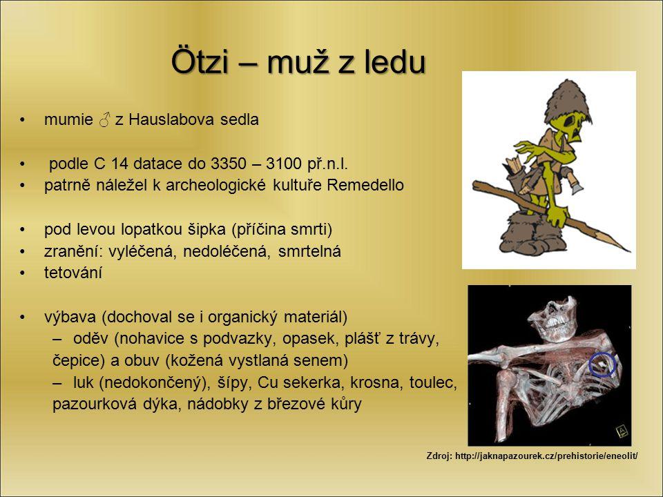 Ötzi – muž z ledu mumie ♂ z Hauslabova sedla podle C 14 datace do 3350 – 3100 př.n.l. patrně náležel k archeologické kultuře Remedello pod levou lopat