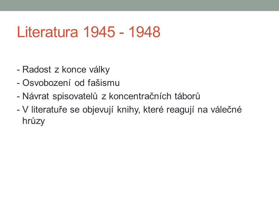 Literatura 1945 - 1948 - Radost z konce války - Osvobození od fašismu - Návrat spisovatelů z koncentračních táborů - V literatuře se objevují knihy, k