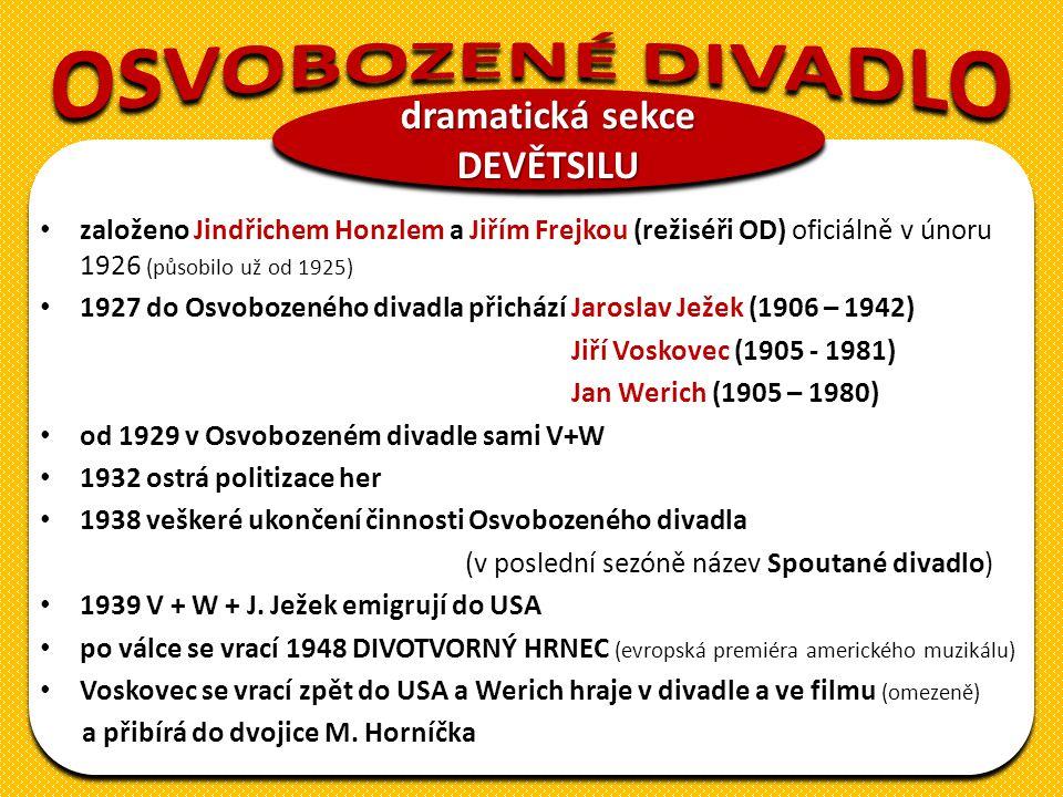 založeno Jindřichem Honzlem a Jiřím Frejkou (režiséři OD) oficiálně v únoru 1926 (působilo už od 1925) 1927 do Osvobozeného divadla přichází Jaroslav Ježek (1906 – 1942) Jiří Voskovec (1905 - 1981) Jan Werich (1905 – 1980) od 1929 v Osvobozeném divadle sami V+W 1932 ostrá politizace her 1938 veškeré ukončení činnosti Osvobozeného divadla (v poslední sezóně název Spoutané divadlo) 1939 V + W + J.