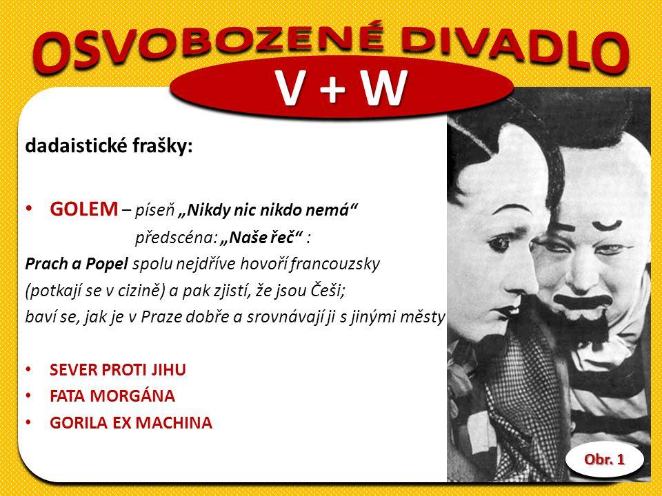 """dadaistické frašky: GOLEM – píseň """"Nikdy nic nikdo nemá předscéna: """"Naše řeč : Prach a Popel spolu nejdříve hovoří francouzsky (potkají se v cizině) a pak zjistí, že jsou Češi; baví se, jak je v Praze dobře a srovnávají ji s jinými městy SEVER PROTI JIHU FATA MORGÁNA GORILA EX MACHINA V + W Obr."""