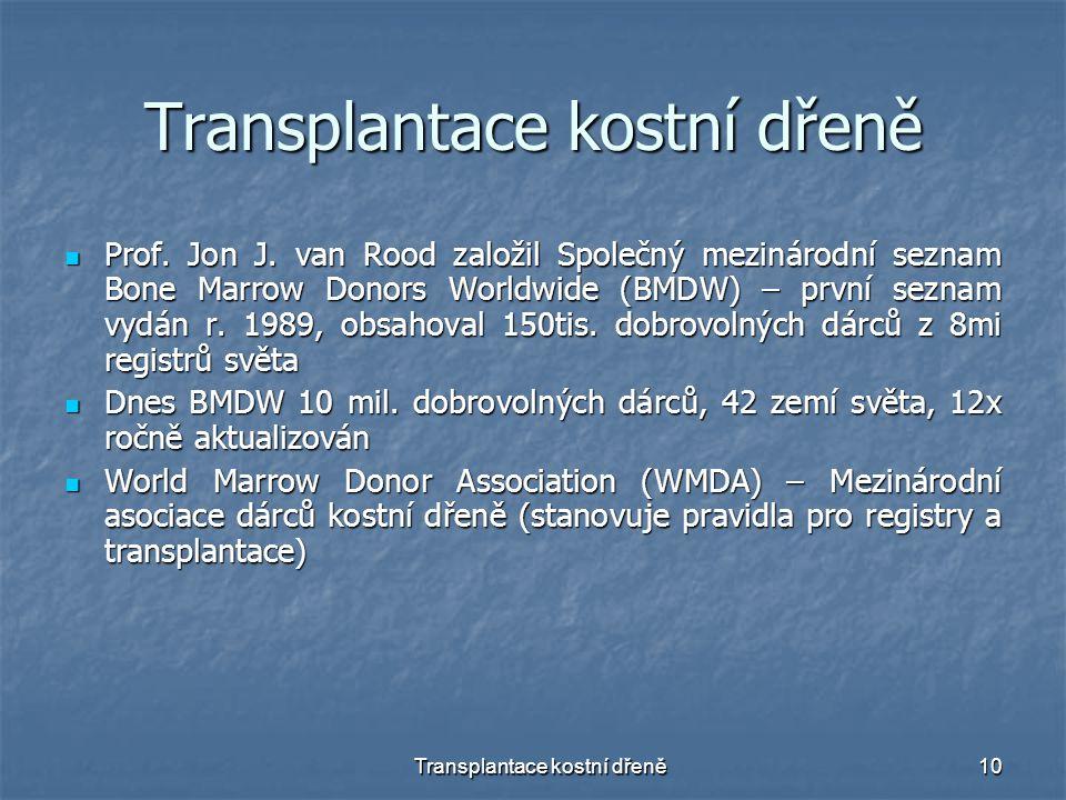 Transplantace kostní dřeně10 Transplantace kostní dřeně Prof. Jon J. van Rood založil Společný mezinárodní seznam Bone Marrow Donors Worldwide (BMDW)