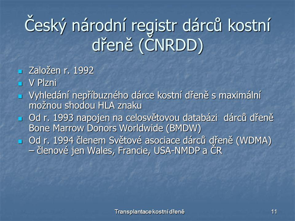 Transplantace kostní dřeně11 Český národní registr dárců kostní dřeně (ČNRDD) Založen r.