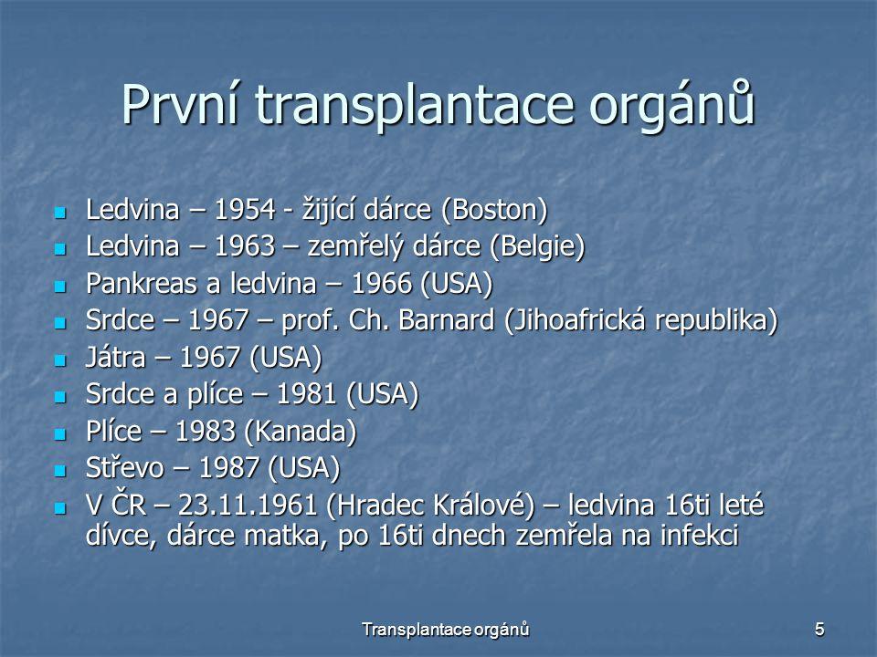5 První transplantace orgánů Ledvina – 1954 - žijící dárce (Boston) Ledvina – 1954 - žijící dárce (Boston) Ledvina – 1963 – zemřelý dárce (Belgie) Ledvina – 1963 – zemřelý dárce (Belgie) Pankreas a ledvina – 1966 (USA) Pankreas a ledvina – 1966 (USA) Srdce – 1967 – prof.