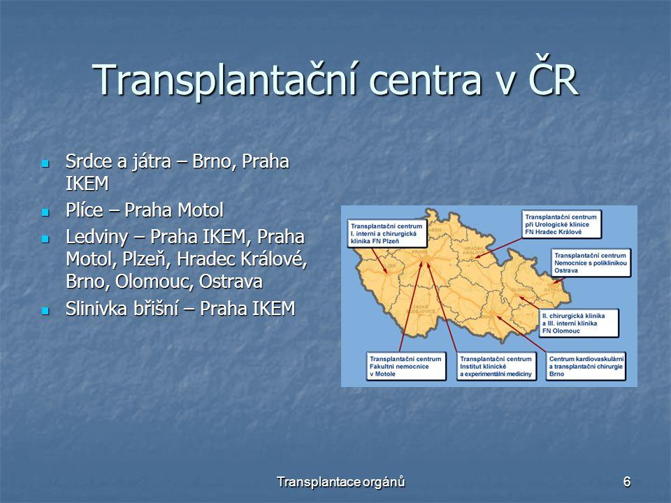 Transplantace orgánů6 Transplantační centra v ČR Srdce a játra – Brno, Praha IKEM Srdce a játra – Brno, Praha IKEM Plíce – Praha Motol Plíce – Praha M