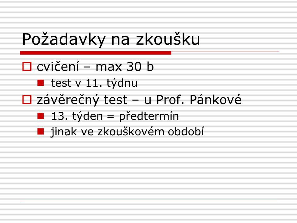 Požadavky na zkoušku  cvičení – max 30 b test v 11.