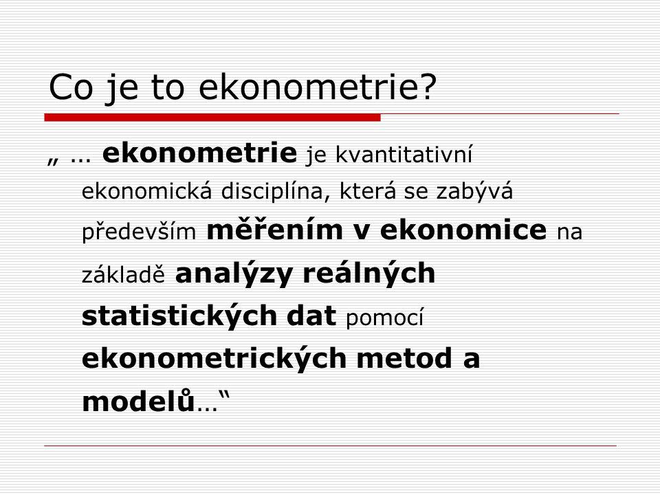 Co je to ekonometrie? Matematika Statistika regresní analýza ekonomická oblast