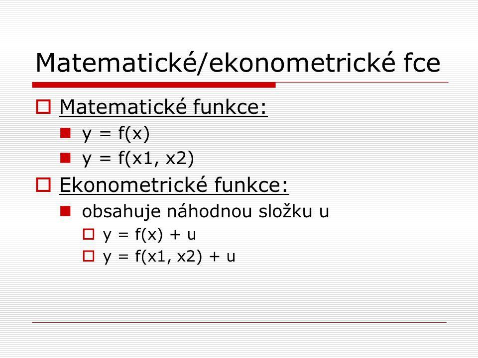 Matematické/ekonometrické fce  Matematické funkce: y = f(x) y = f(x1, x2)  Ekonometrické funkce: obsahuje náhodnou složku u  y = f(x) + u  y = f(x1, x2) + u