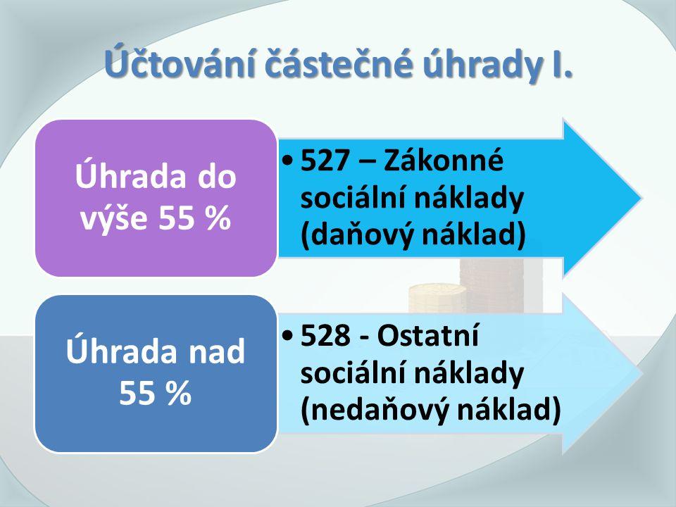 Účtování částečné úhrady I. 527 – Zákonné sociální náklady (daňový náklad) Úhrada do výše 55 % 528 - Ostatní sociální náklady (nedaňový náklad) Úhrada