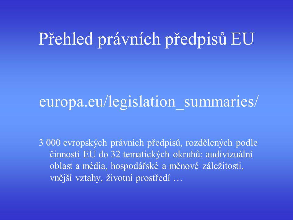 Přehled právních předpisů EU europa.eu/legislation_summaries/ 3 000 evropských právních předpisů, rozdělených podle činností EU do 32 tematických okru