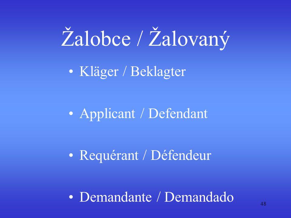 48 Žalobce / Žalovaný Kläger / Beklagter Applicant / Defendant Requérant / Défendeur Demandante / Demandado