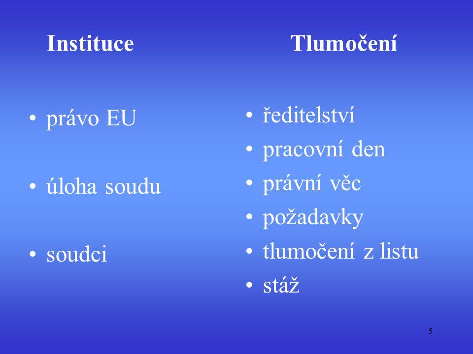 Instituce právo EU úloha soudu soudci Tlumočení ředitelství pracovní den právní věc požadavky tlumočení z listu stáž 5