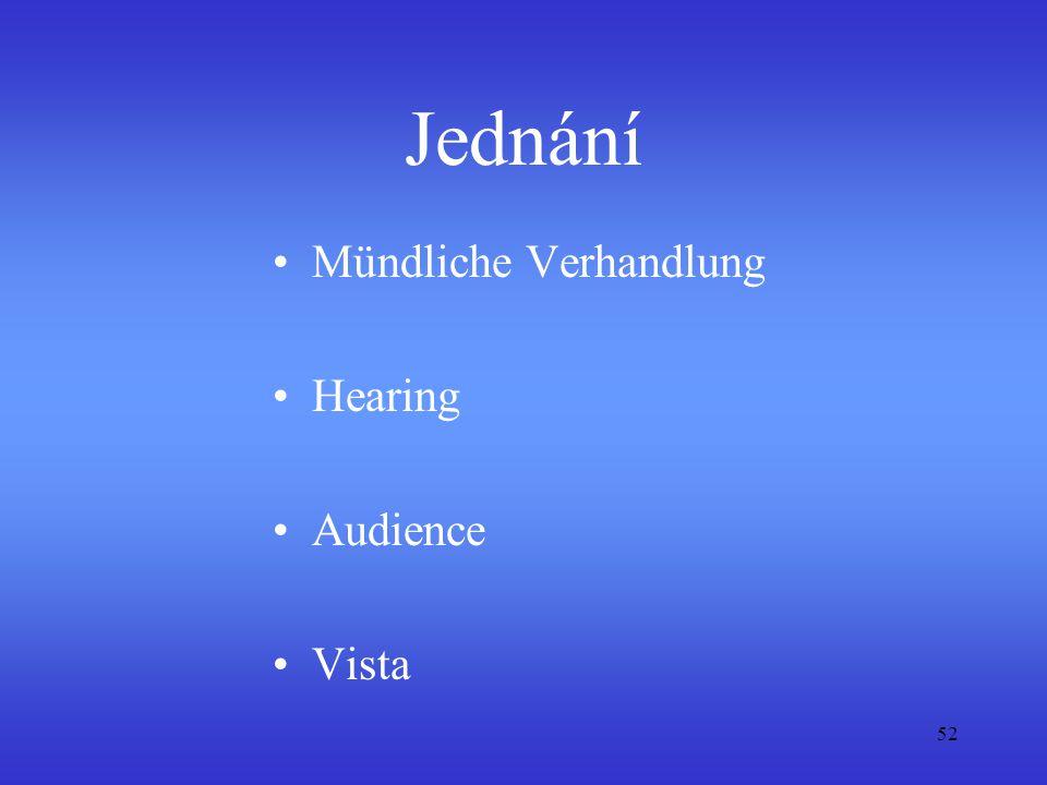 52 Jednání Mündliche Verhandlung Hearing Audience Vista