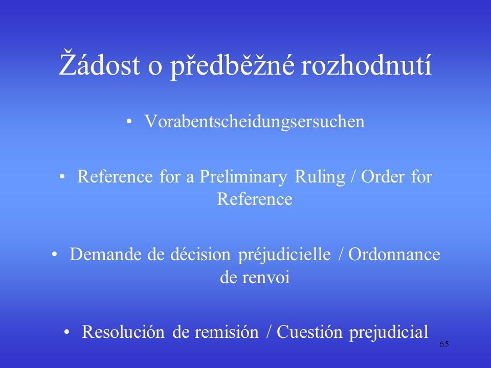 Žádost o předběžné rozhodnutí Vorabentscheidungsersuchen Reference for a Preliminary Ruling / Order for Reference Demande de décision préjudicielle /