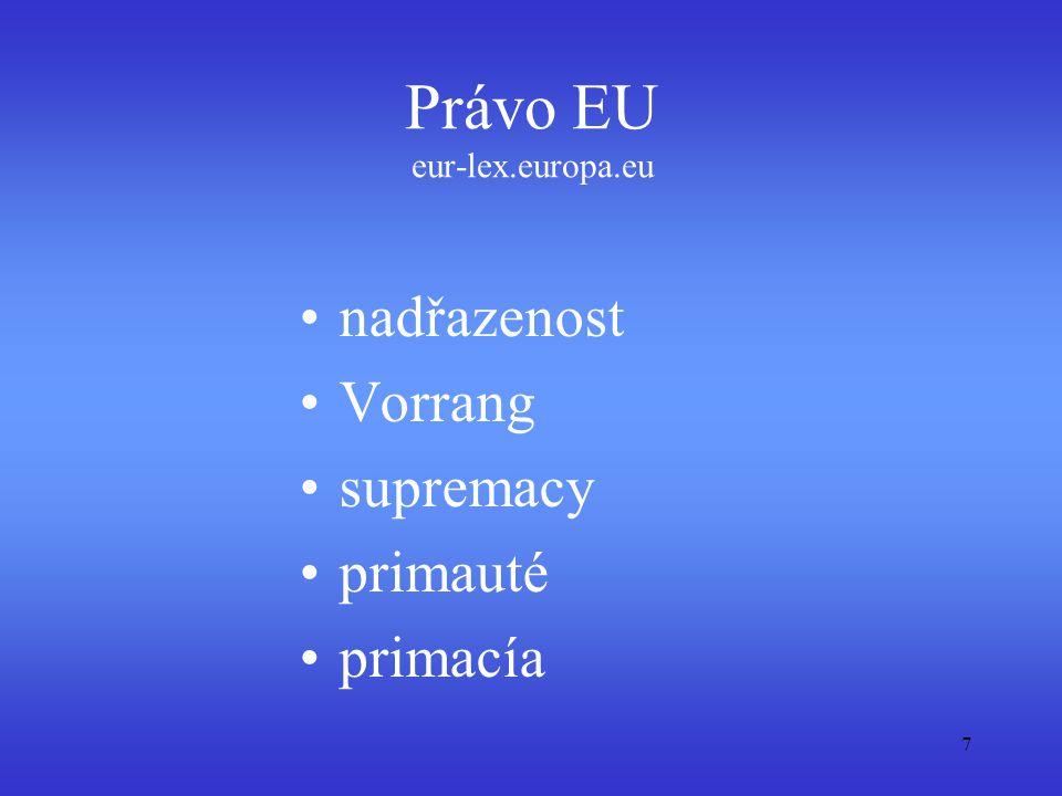 primární právo: smlouvy sekundární právo: právní předpisy, judikatura, mezinárodní dohody 8 Prameny práva EU