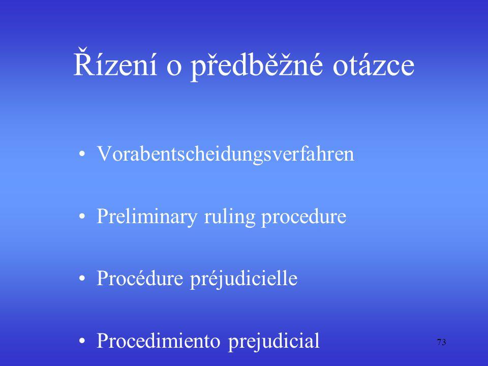 73 Řízení o předběžné otázce Vorabentscheidungsverfahren Preliminary ruling procedure Procédure préjudicielle Procedimiento prejudicial