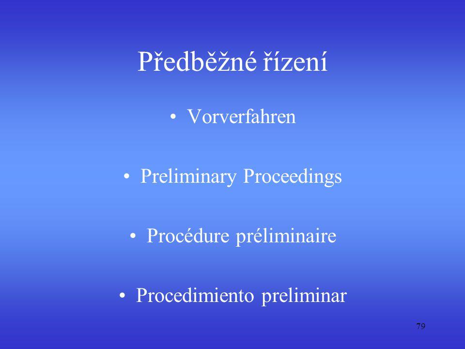 Předběžné řízení Vorverfahren Preliminary Proceedings Procédure préliminaire Procedimiento preliminar 79
