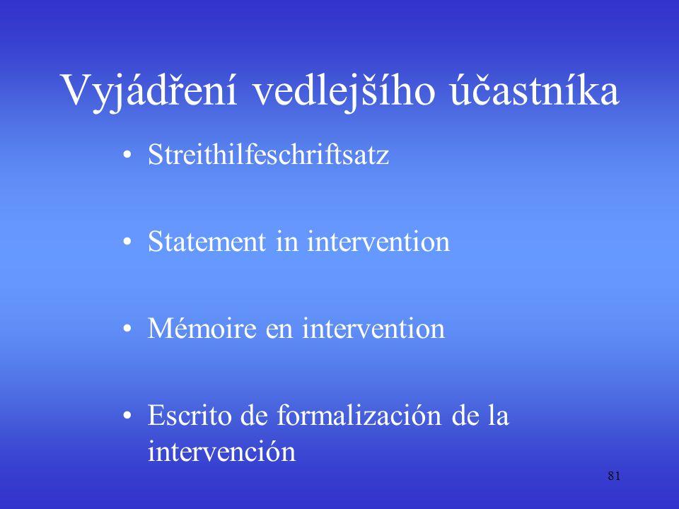 81 Vyjádření vedlejšího účastníka Streithilfeschriftsatz Statement in intervention Mémoire en intervention Escrito de formalización de la intervención