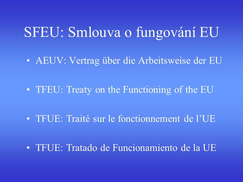 SFEU: Smlouva o fungování EU AEUV: Vertrag über die Arbeitsweise der EU TFEU: Treaty on the Functioning of the EU TFUE: Traité sur le fonctionnement d