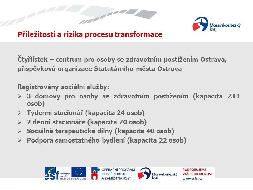 Příležitosti a rizika procesu transformace Čtyřlístek – centrum pro osoby se zdravotním postižením Ostrava, příspěvková organizace Statutárního města