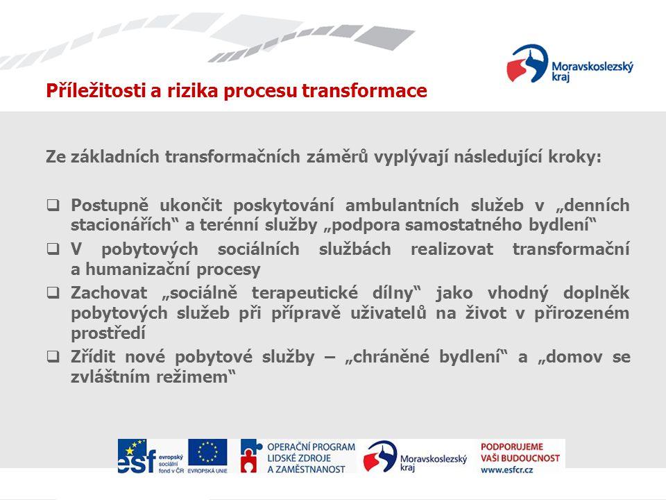 """Příležitosti a rizika procesu transformace Ze základních transformačních záměrů vyplývají následující kroky:  Postupně ukončit poskytování ambulantních služeb v """"denních stacionářích a terénní služby """"podpora samostatného bydlení  V pobytových sociálních službách realizovat transformační a humanizační procesy  Zachovat """"sociálně terapeutické dílny jako vhodný doplněk pobytových služeb při přípravě uživatelů na život v přirozeném prostředí  Zřídit nové pobytové služby – """"chráněné bydlení a """"domov se zvláštním režimem"""