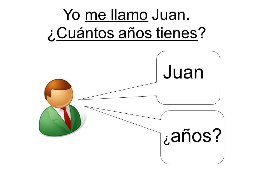 Yo me llamo Juan. ¿Cuántos años tienes Juan ¿ años