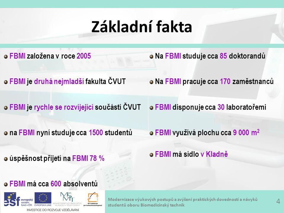 Modernizace výukových postupů a zvýšení praktických dovedností a návyků studentů oboru Biomedicínský technik Základní fakta 4 FBMI založena v roce 2005 FBMI je druhá nejmladší fakulta ČVUT FBMI je rychle se rozvíjející součástí ČVUT na FBMI nyní studuje cca 1500 studentů úspěšnost přijetí na FBMI 78 % FBMI má cca 600 absolventů Na FBMI studuje cca 85 doktorandů Na FBMI pracuje cca 170 zaměstnanců FBMI disponuje cca 30 laboratořemi FBMI využívá plochu cca 9 000 m 2 FBMI má sídlo v Kladně