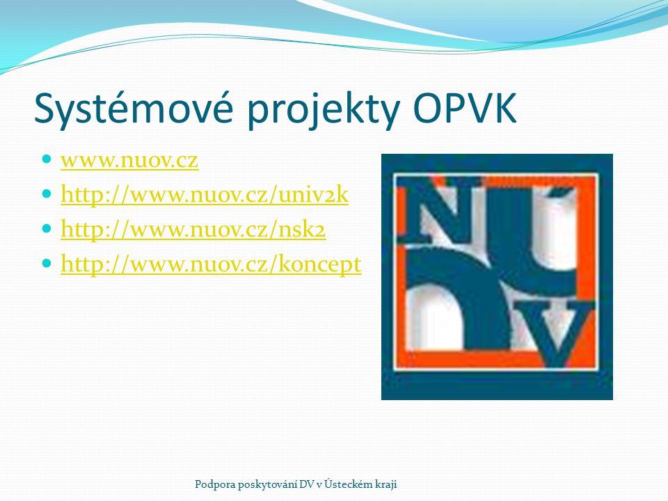 Systémové projekty OPVK www.nuov.cz http://www.nuov.cz/univ2k http://www.nuov.cz/nsk2 http://www.nuov.cz/koncept Podpora poskytování DV v Ústeckém kra